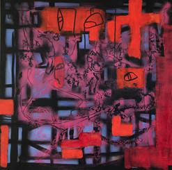 Vitraux, 2014, technique mixte sur toile 90x90 cm