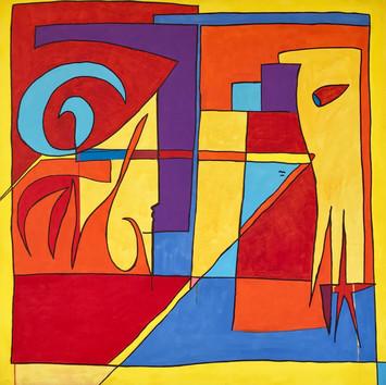 Pieuvre, 2013,  technique mixte sur toile 90x90 cm
