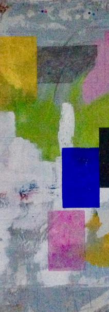 Colours in progress, technique mixte sur affiche déchirée, 120x100 cm