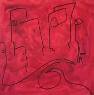 Red, 2019, technique mixte sur toile 90x90 cm