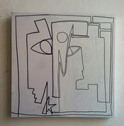Graphisme, 2012, technique mixte sur toile 50x50 cm