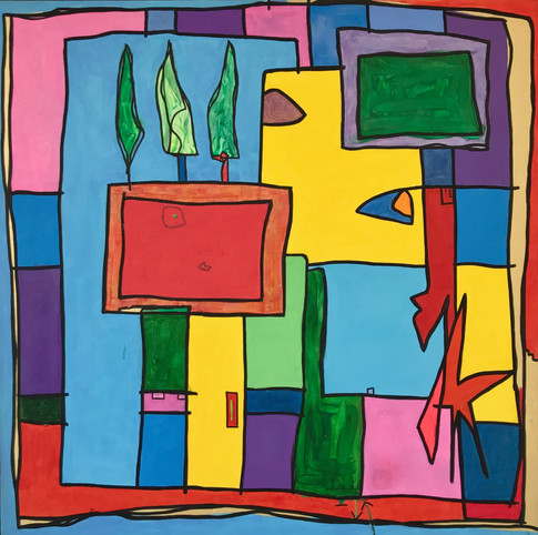Parcelles, 2013, technique mixte sur toile 90x90 cm