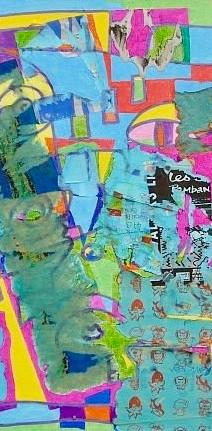 Collage, 2018, technique mixte sur toile 30x30 cm