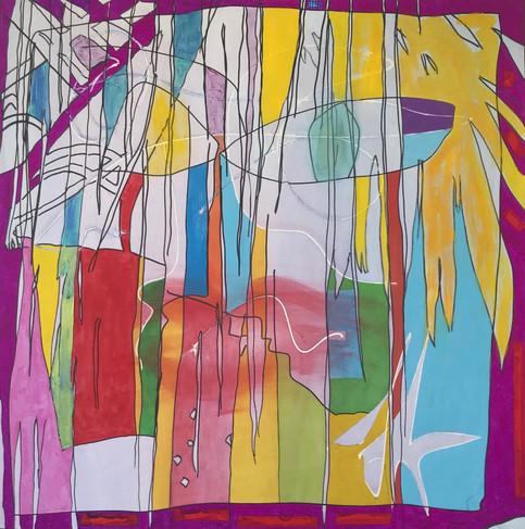 Kiss, 2017, technique mixte sur toile 90x90 cm