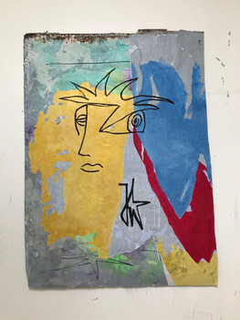 Signature, 2018, technique mixte sur affiche arrachée, 90x70 cm