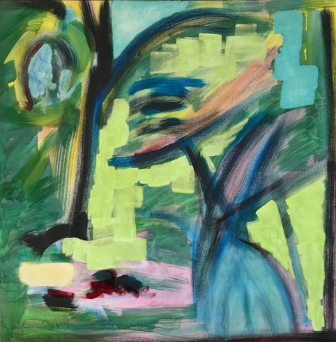 Portrait vert, 2016, technique mixte sur toile 90x90 cm