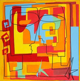 Superpositions, 2013,  acrylique sur toile 90x90 cm