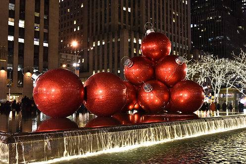 The Red Christmas Balls Sixth Avenue NYC