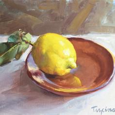 Lemon on Terracotta Plate