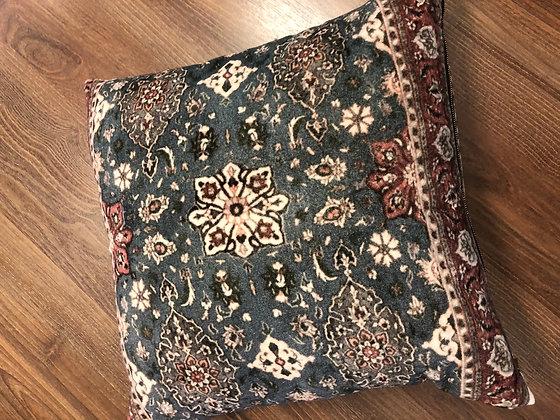 Navy Moroccan print velvet cushion