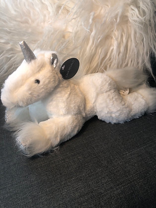 White unicorn with glitter horn