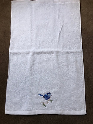 Blue bird hand towel