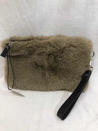 Taupe fur clutch purse