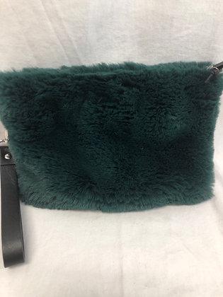 Green fur clutch purse
