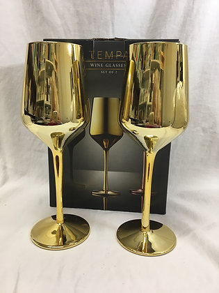 Gold wine glasses - set of two
