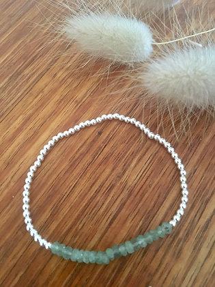 Green jade silver bracelet