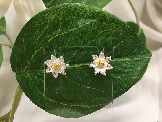 Gold and silver flower studs