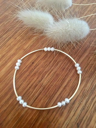 Gold with freshwater pearls bracelet