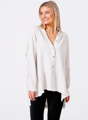 Natural linen viscose shirt