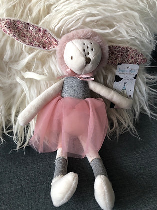 Pink rabbit with fur hat
