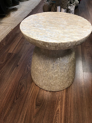Cream capiz shell table/ stool