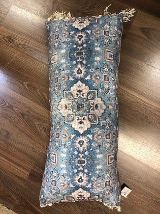 Long blue mosaic bolster cushion