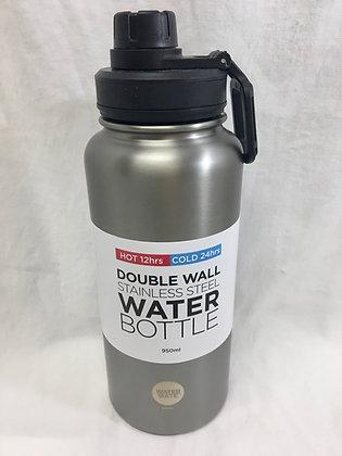 Double walled silver 950ml water bottle