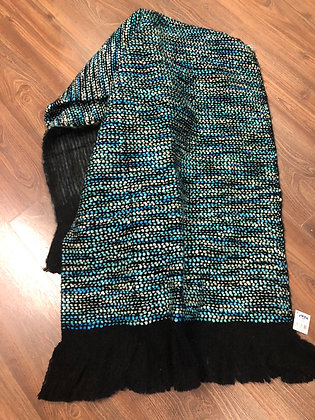Blue and black throw