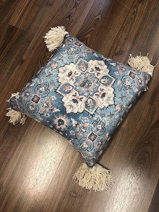 Small blue mosaic cushion