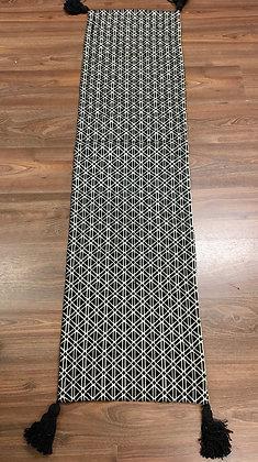 Black & white woven table runner