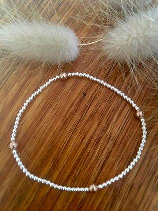 Sterling silver and rose gold bracelet