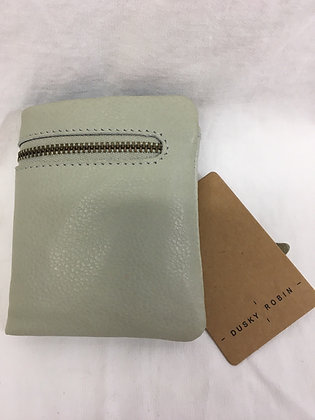 Leather wallet - light grey