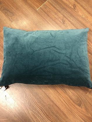 Teal rectangle velvet cushion