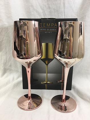 Rose gold wine glasses - set of 2