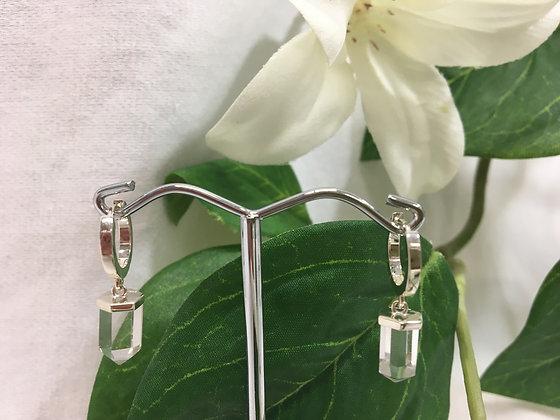 Silver crystal quartz earrings