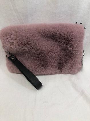 Pink fur clutch purse