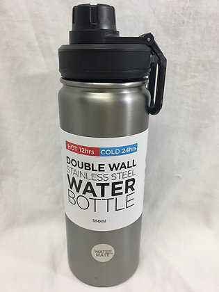 Double walled silver 550ml water bottle