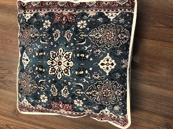 Navy Moroccan print walled cushion