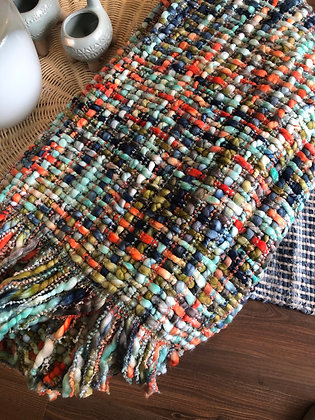 Blue/ orange chunky knit throw