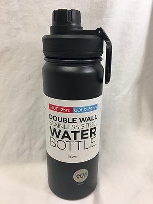 Doubled walled black 550ml water bottle