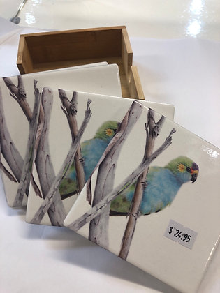 Set of 4 ceramic coaster in timber box 12cm square