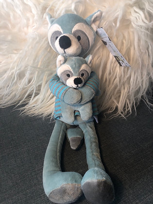 Aqua raccoon with baby