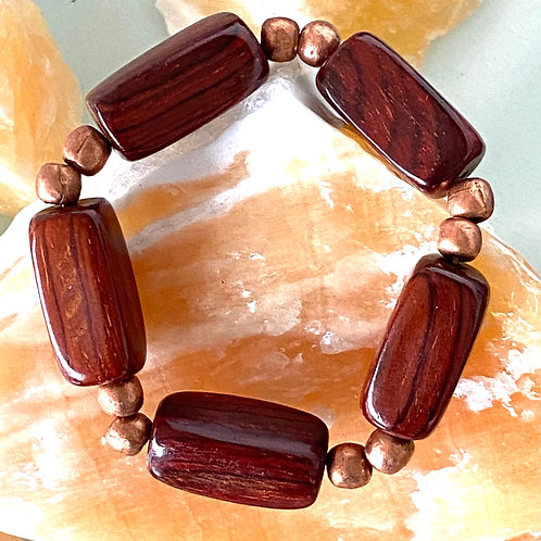 Unisex wood and copper stretchy bracelet. 8 inches.