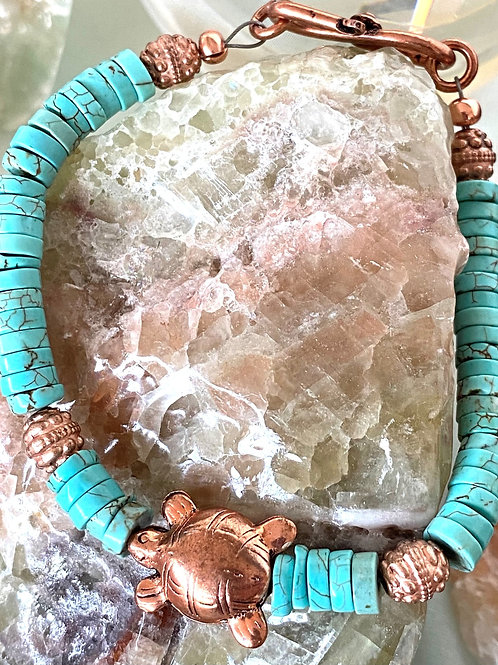 Turquoise with copper Sea turtle bracelet