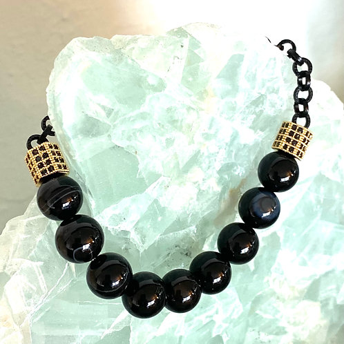 Black agate with 3 18kt gold electroplate over copper stations