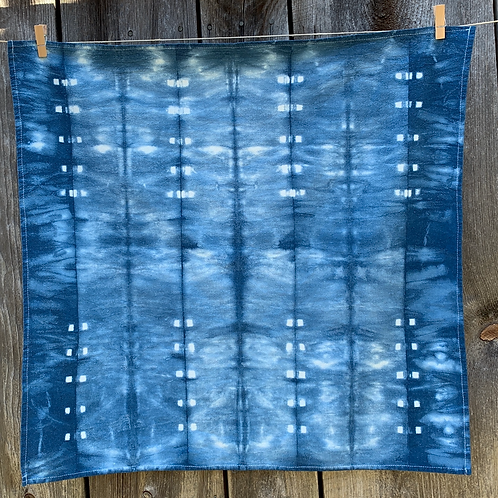 Indigo Dyed Shibori Tea Towel