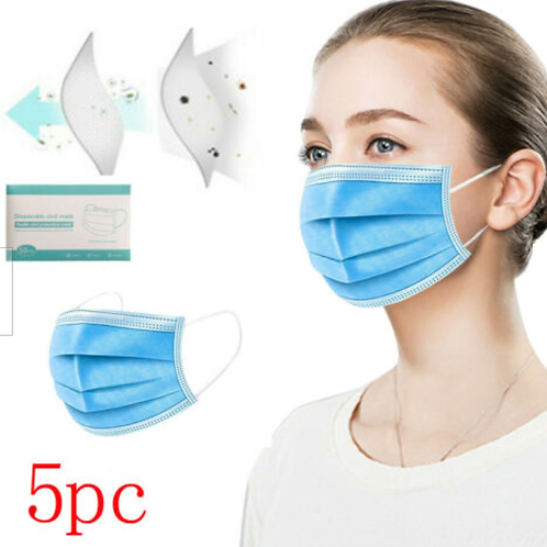 5 PACK Breathable Face Mask - Disposable Face Masks - 3 layer filtration
