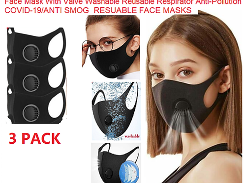 3 PACK Breathable Face Mask With Valve Washable Reusable Respirator Viruses