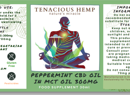New Product Launch - tenacious hemp cbd oil peppermint flavour (pleasant tasting) - extra large