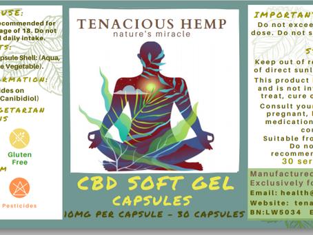 New Product tenacious hemp cbd oil capsules 10MG PAIN ARTHRITIS INFLAMMATION ANXIETY MOOD